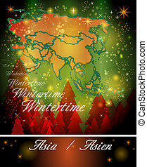 Map of Asia in Christmas Design