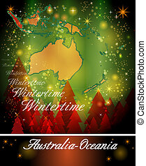 Map of australia-oceania in Christmas Design