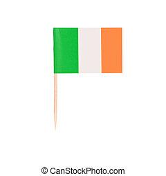 Toothpick Flag Ireland. Paper Irish flag . Isolated on white...