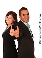 Thumbs Up Business Couple - Beautiful business couple...