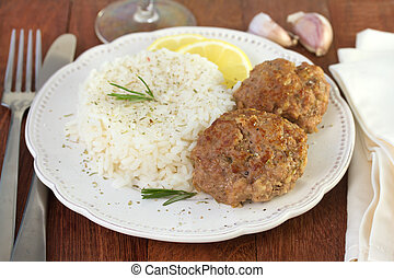 meatballs with boiled rice