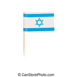 Toothpick Flag Israel. Paper Israelian flag . Isolated on...