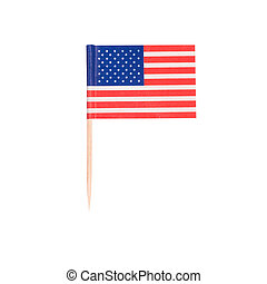 Toothpick Flag USA. Paper American flag . Isolated on white...