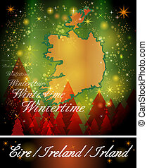 Map of Ireland in Christmas Design