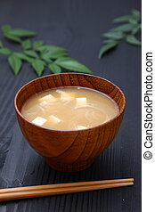 Miso Soup - Japanese Traditional Cuisine Miso Soup with Tofu...