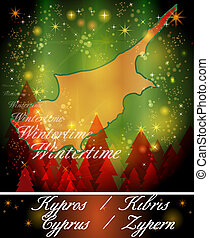Map of Cyprus in Christmas Design