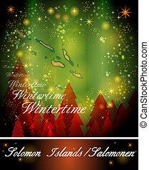 Map of solomon islands in Christmas Design