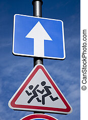 School and One Way Direction Traffic Sign