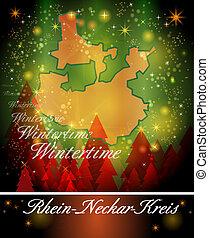 Map of Rhein-Neckar-Kreis in Christmas Design