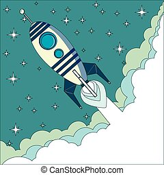 Flying Rocket with space for text - Stock Vector...