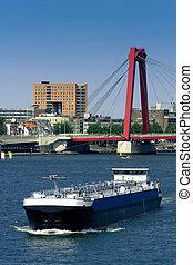 Rotterdam. Maas and Willemsbrug - Rotterdam. Maas river and...