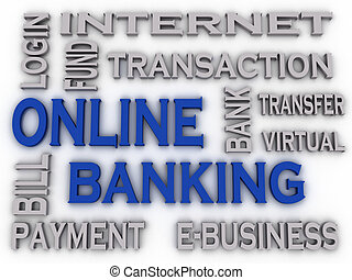 3d imagen Online Banking issues concept word cloud...