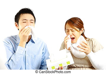 allergic rhinitis - portrait of Japanese Couple suffers from...
