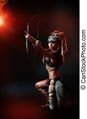bow and arrows - Beautiful bellicose Amazon with bow and...