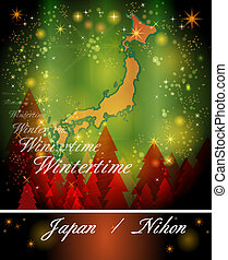 Map of Japan in Christmas Design