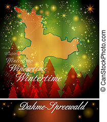 Map of Dahme-Spreewald in Christmas Design