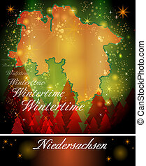 Map of Lower Saxony in Christmas Design