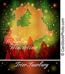 Map of Trier-Saarburg in Christmas Design