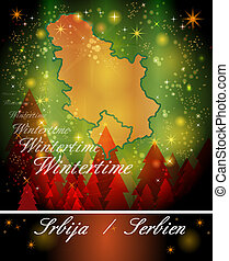 Map of Serbia in Christmas Design