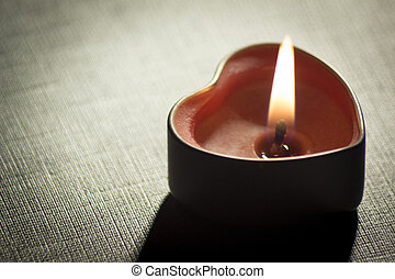 Love heart shape candle light photo.