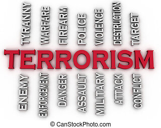 3d image Terrorism issues concept word cloud background