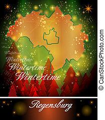 Map of regensburg in Christmas Design