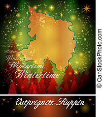 Map of Ostprignitz-Ruppin in Christmas Design