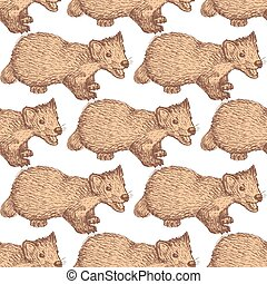 Sketch cute marten in vintage style, vector seamless pattern