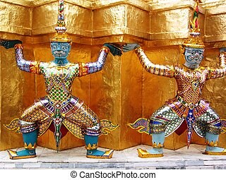 Statue - Small statues of rakshas at Wat Phra Kaeo, Bangkok,...