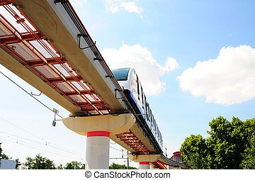 Monorail - High Speed Monorail Train In Moscow, Russia.