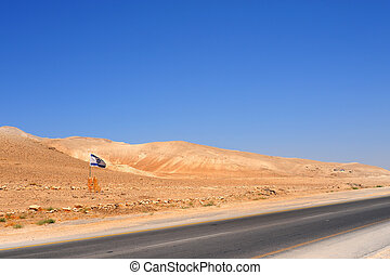 Israel Flag Near Empty Highway In Jordan Valley.
