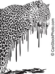 Leopard, abstract painting