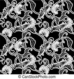 Ornate black and white repeating seamless tile pattern of flowers and butterflies in a Japanese style