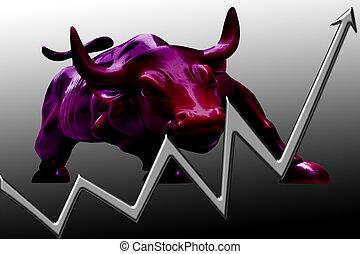 Market Bull - Stock chart illustrating a bull market on...
