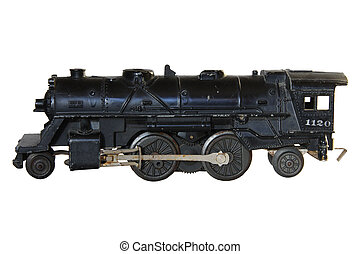 Model Steam Engine - Model steam train isolated over a white...