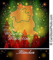 Map of Muenchen in Christmas Design