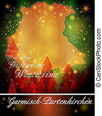 Map of Garmisch-Partenkirchen in Christmas Design