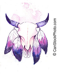 Skull of a bull - water color skull of a bull with feathers
