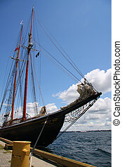 Schooner at dock along the St Lawrence River