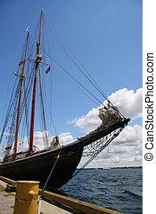 Schooner at dock along the St Lawrence River