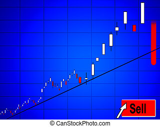 Sell Stock - Conceptual online market equity chart turning...