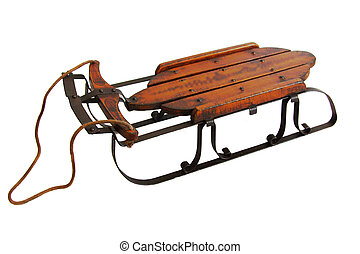 Vintage Snow Sled - Old snow sled on isolated white...