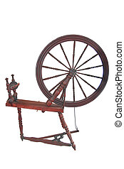 Spinning Wheel - Antique spinning wheel isolated over white...
