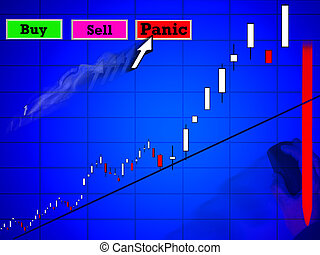 Online Trading - Conceptual panic online stock market equity...