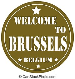 Welcome To Brussels-label - Label with text Welcome To...