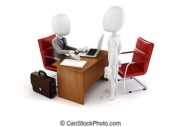3d man, business meeting, job interview
