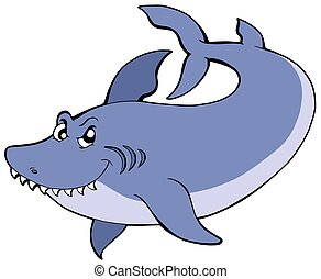 Big blue shark - isolated illustration.