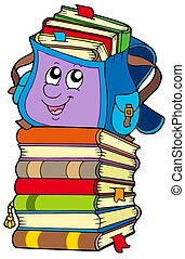 Cute school bag on pile of books - isolated illustration.