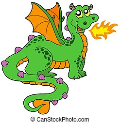 Cute dragon with long tail - isolated illustration.