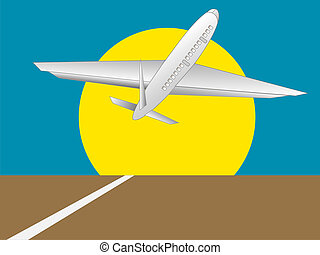 Take Off - Illustration of a plane taking off with a large...
